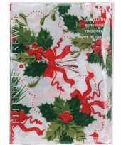 3x stuks kerst thema tafelkleden wit met hulsttakken 180 x 130 cm