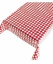 Blauw tafellaken met rode ruitjes 140 x 240 cm