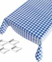 Blauw tuin tafellaken voor buiten ruiten print 140 x 170 cm pvc kunststof met aluminium klemmen