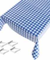 Blauw tuin tafellaken voor buiten ruiten print 140 x 245 cm pvc kunststof met aluminium klemmen