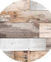 Bruin tuin tafellaken voor buiten hout print 160 cm pvc kunststof