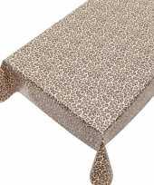 Bruin tuin tafellaken voor buiten luipaarden vlekken print 140 x 240 cm pvc kunststof