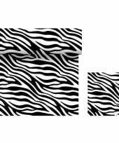 Dieren thema feest servetjes en tafellakens tafelkleden zebra print zwart wit