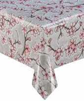 Grijs tuin tafellaken voor buiten kersenbloesem bloemen print 120 x 180 cm pvc kunststof