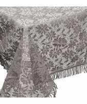 Grijze tuin tafellaken voor buiten 150 x 220 cm rechthoekig van kunststof