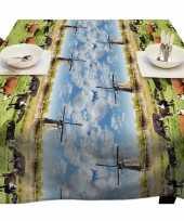 Holland landschap met koeien en molens tafellaken voor buiten 140 x 250 cm pvc kunststof