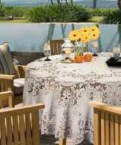 Ivoor wit tuin tafellaken voor buiten 180 cm rond van kunststof