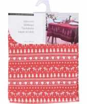 Kerst decoratie rode tafelkleden met rendier print130 x 180 cm