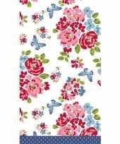 Lente voorjaar bloemenprint tafelkleed tafellaken roosjes 138 x 220 cm van papier