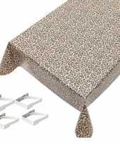 Luipaard print tuin tafellaken voor buiten 140 x 245 cm pvc kunststof met aluminium klemmen