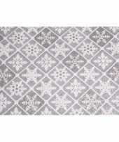Organza zilver tafelkleed ruit patroon glitters 30 x 270 cm