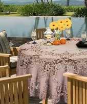 Oud roze tuin tafellaken voor buiten 180 cm rond van kunststof