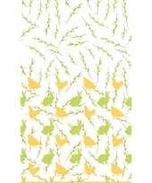 Pasen tafelkleed tafellaken konijnen en hanen geel groen 138 x 220 cm