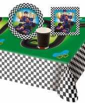 Race formule 1 kinderfeestje tafel feestartikelen pakket voor 8 personen