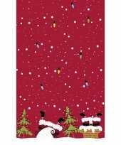 Rode kerst thema tafellakens tafelkleden met kerstman 138 x 220 cm