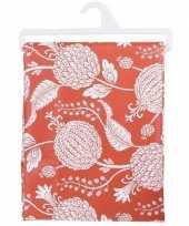 Rood tafellaken met bloemen 130x180 cm
