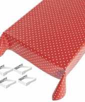 Rood tuin tafellaken voor buiten polkadot print 140 x 170 cm pvc kunststof met aluminium klemmen