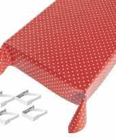 Rood tuin tafellaken voor buiten polkadot print 140 x 245 cm pvc kunststof met aluminium klemmen