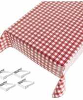 Rood tuin tafellaken voor buiten ruiten print 140 x 240 cm pvc kunststof met aluminium klemmen