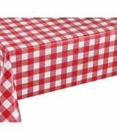 Rood tuin tafellaken voor buiten ruitjes print 140 x 200 cm pvc kunststof