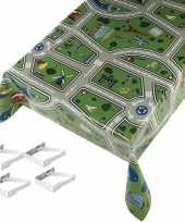 Speelkleed patroon tuin tafellaken voor buiten kinderen 140 x 245 cm pvc kunststof met aluminium klemmen