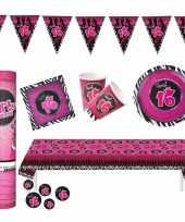 Sweet sixteen thema verjaardag feestartikelen pakket voor 8x personen