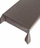 Tafelzeil polkadot taupe 140 x 240 cm
