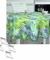 Tuin tafellaken voor buiten tropische palmbladeren print 160 cm rond pvc textiel met aluminium klemmen