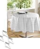 Tuin tafellaken voor buiten wit grijs motief 160 cm rond pvc textiel met aluminium klemmen