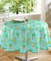 Turquoise blauw tuin tafellaken voor buiten cactus print 160 cm pvc kunststof