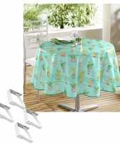 Turquoise tuin tafellaken voor buiten cactus print 160 cm rond pvc textiel met aluminium klemmen
