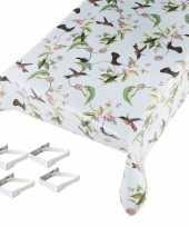 Vogels print tuin tafellaken voor buiten 140 x 245 cm pvc kunststof met aluminium klemmen