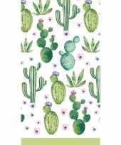 Wit groene cactussen tafelkleed 138 x 220 cm