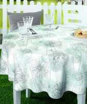 Wit mintgroen tuin tafellaken voor buiten paardenbloem pluizenbollen print 160 cm pvc kunststof