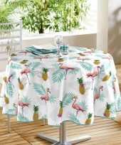 Wit tuin tafellaken voor buiten flamingos ananassen print 160 cm pvc kunststof