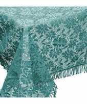 Zeeblauwe tuin tafellaken voor buiten 150 x 220 cm rechthoekig van kunststof
