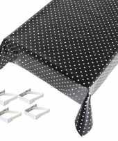 Zwart tuin tafellaken voor buiten polkadot print 140 x 245 cm pvc kunststof met aluminium klemmen