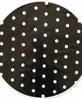 Zwart tuin tafellaken voor buiten polkadot stippen print 160 cm pvc kunststof