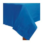 Navy blauw tuin tafellaken met franjes voor buiten 180 x 140 cm polyester kunststof